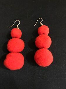 Vintage Style Red Dangly Pom-Pom Earrings. Women's Pom Pom 80s Jewellery