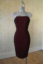 *BNWT* NEXT red & black flocked velvet textured fitted pencil dress UK10 RRP £50