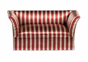 MAHOGANY SATIN STRIPED LOVESEAT Sofa Dollhouse Miniature 1:12 Scale #T3861A NIB