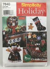 1997 Simplicity Sewing Pattern #3903 Christmas Decorations Stocking Wreath 3903F