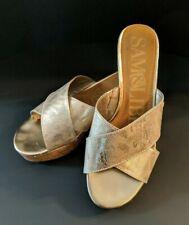 Womens SAM & LIBBY Gold Snake Print Cork Platform Wedge Slides Sandals sz 9