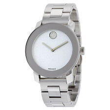 New Movado Bold Silver Gliter Dial Stainless Steel Women's Watch 3600334
