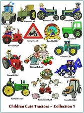 "AUSTRALIAN SITE: "" Children Cute Tractors 1 "" - 15 pretty Designs on CD"