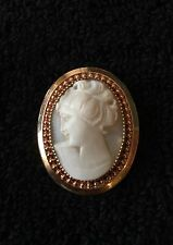 VINTAGE CAMEO BROOCH | 12K GOLD FILLED | CARVED SHELL ELEGANT BEAUTY