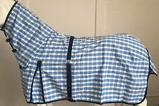 AXIOM POLYCOTTON SKYBLUE & WHITE CHECK RIPSTOP UNLINED HORSE COMBO RUG 6' 0