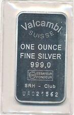 Silberbarren Silber Unze silver ounce 999/1000 Valcambi Suisse SRH-Club No.21562