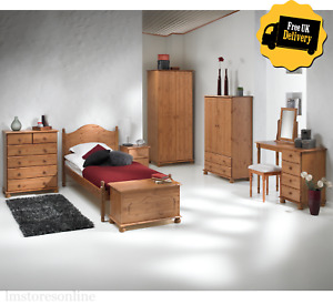PINE Rustic Bedroom Furniture Set Of Wardrobes, Chest of Drawers, Bedside Table
