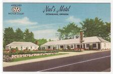 Neel's Motel Highway 101 Oceanlake Oregon linen postcard
