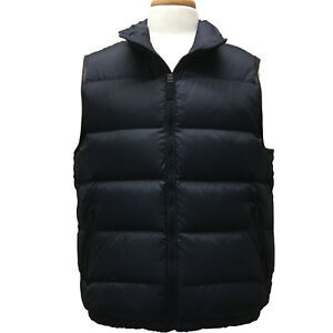 Coach F83746 Mens Down Puffer Vest with Leather Trim Full Zip Lined Navy Blue