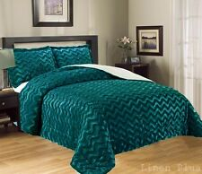 3 Piece Fur 3D Crafted Turquoise Plush Super Soft Sherpa Blanket King Size 8Ib