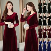 Women Swing O-Neck Velvet Long Sleeve Dress Formal Cocktail Party Formal Dress