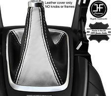 Negro Y Blanco Cuero Real MANUAL GEAR GAITER se ajusta Ford Mondeo MK5 2014-2017