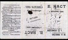 "NARBONNE (11) Buvard : VINS CARIGNAN GARRIGUES ""E. RACT"" Tarifs au verso en 1901"