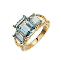 Large Aquamarine Gemstone Diamond Ring 14K Yellow Gold Engagement Womens Jewelry