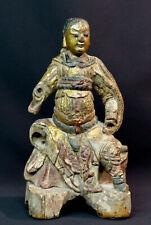D art chine statue sculpture 18ème bouddha bois doré polychrome 30cm880g guanyin