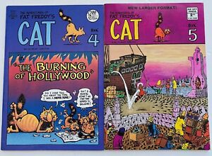 Vintage Adventures Of Fat Freddy's Cat Comic Book Lot #4 & 5 Rip Off Press