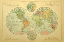 1928 MAP THE WORLD WESTERN & EASTERN HEMISPHERE AFRICA EUROPE AMERICA ANTARTICA