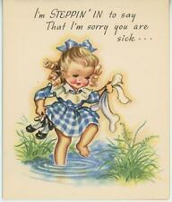 VINTAGE BLONDE CURLS CHILD GIRL LADY JANE SHOES SOCKS BARE FEET POND CARD PRINT