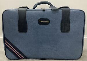 Thumbelina Blue Faux Leather Zip Around Suitcase Retro Vintage