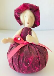 """Purple Pin Cushion Doll Hand Made Sewing Accessory Button Shoulder Joints 6"""""""