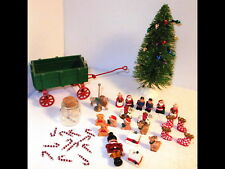 Vtg Christmas Miniature Dollhouse Figures Wagon Decorations Candy Canes Tree Jar