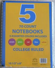 "FREE SHIP - LOT of 5 Notebooks 70ct College Ruled 10 1/2"" x 8""  NEW - SEALED"