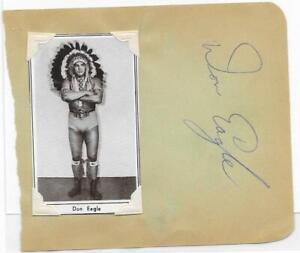 Don Eagle vintage signed 4x5 album page AWA wrestling legend autograph d.1966
