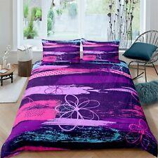 Purple Boho Floral Comforter Cover kids 3 PcS Bedding Set girls Duvet Cover Set