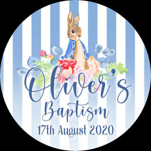 24 Personalised Stickers For Party/Sweet Cone Bags Peter Rabbit Baptism