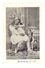 1909 YOUNG GIRL DOG PUPPY SPORT Photo Postcard Vintage USA Harlan Iowa PM Kirk