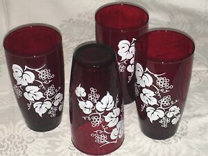 SET 4 Vintage 1950's Drinking Glass Tumblers Ruby Red Grape Leaf Anchor Hocking