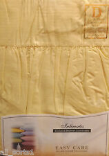 DOUBLE BED FITTED VALANCE SHEET LEMON YELLOW 180 THREAD COUNT PERCALE POLYCOTTON