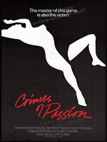 CRIMES OF PASSION__Original 1984 Trade print AD film promo / poster__KEN RUSSELL