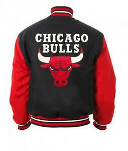 Vintage Chicago Bulls NBA Varsity Letterman Red & Black Bomber Wool Men's Jacket