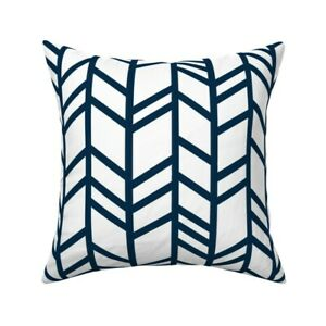 Herringbone Chevron White Navy Throw Pillow Cover w Optional Insert by Roostery