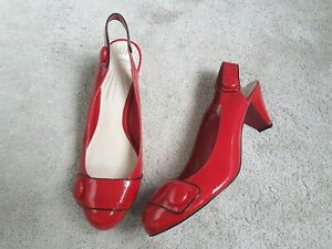 Leather Upper Womens shoes size 8 Bargain M/&S Make New With Tags Red Flats