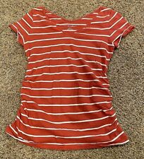 **VERY NICE** Ladies LIZ LANGE Ruched MATERNITY Top--Short Sleeves-STRIPED-SMALL