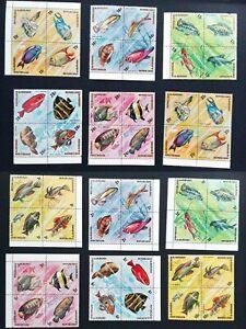 Full Set 1974 Burundi 48 Stamps African Fish New MNH y02