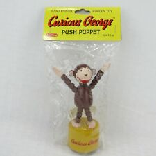 "CURIOUS GEORGE PUSH PUPPET - VINTAGE SCHYLLING 5"" HAND PAINTED WOODEN TOY - NEW"