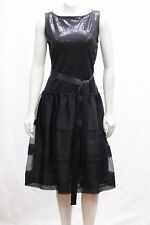 St. John Caviar 08 M Wool Evening Dress Black Embellished Paillettes Belt Tie
