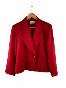 VINTAGE Katies Button Up Jacket Blazer Womens Size 14 Red Long Sleeve Lined