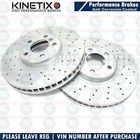 FOR BMW 530d M SPORT FRONT CROSS DRILLED PERFORMANCE BRAKE DISCS PAIR 348mm