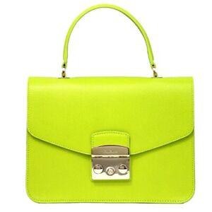 Woman handbag Furla Metropolis small 962604 in green leather and shoulder bag
