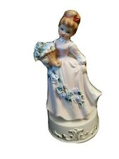 1 x Vintage Pottery Porcelain Rotating Crinoline Lady Musical Box Figurines