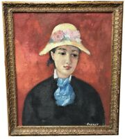 "OIL WITH SAND ON CANVAS SIGNED ""SAURET"" PORTRAIT OF A WOMAN"