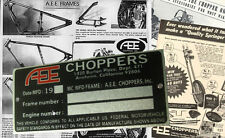 AEE CHOPPERS Data PLATE Frame Rolling Chassis Bobber