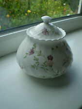 Wedgwood Campion Lidded Sugar Bowl Bone China 1st Quality Pink Flowers 1984