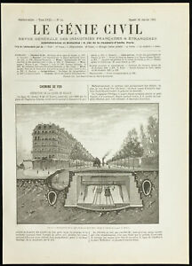 1891 - Ligne de Sceaux du métro de Paris - Gare de Médicis - Génie civil