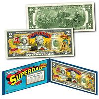 HAPPY FATHERS DAY #1 DAD SUPERMAN Genuine Legal Tender US $2 Bill w/FOLIO & COA