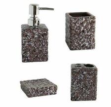 Set 4 Accessori Bagno Ceramica PortaSapone Porta Spazzolino Dispenser 52609